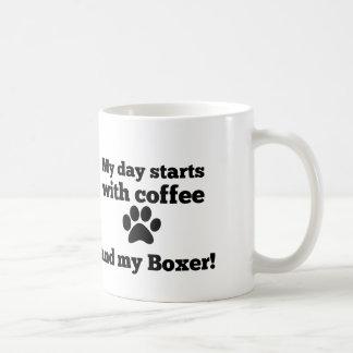 My day starts with coffee and my Boxer. Coffee Mug