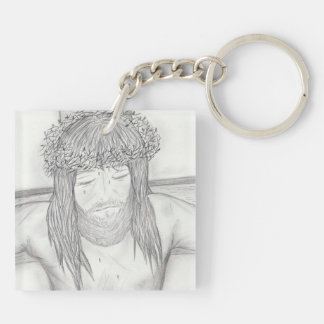 My Dear Lord in black and white Double-Sided Square Acrylic Keychain