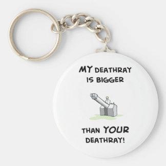 My deathray is bigger basic round button keychain