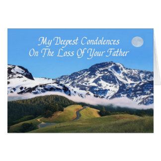 My Deepest Condolences Loss Father Mountain Moon Card