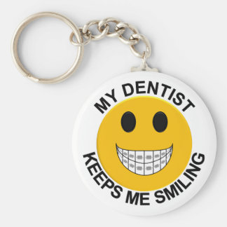 My Dentist Keeps Me Smiling - Smiley Face Keychain