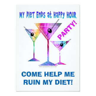 My DIET ENDS at Happy Hour! 5.5x7.5 Paper Invitation Card