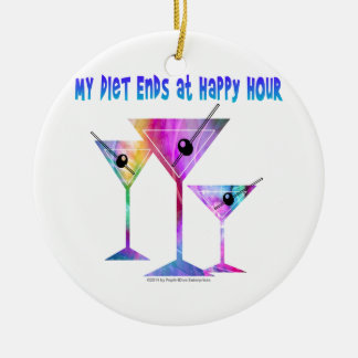 My DIET ENDS at Happy Hour! Double-Sided Ceramic Round Christmas Ornament