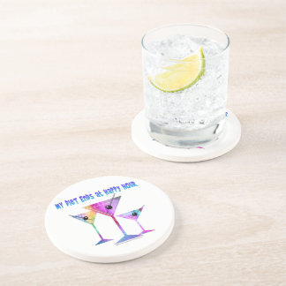 My DIET ENDS at Happy Hour! Drink Coaster