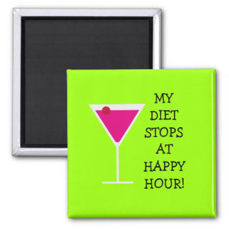 My Diet Stops At Happy Hour Funny Cocktail 2 Inch Square Magnet