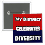 My District Celebrates Diversity Red & Blue Square Buttons