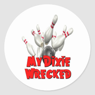 My Dixie Wrecked Bowling Classic Round Sticker