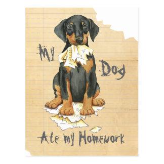 My Doberman Ate My Homework Postcard