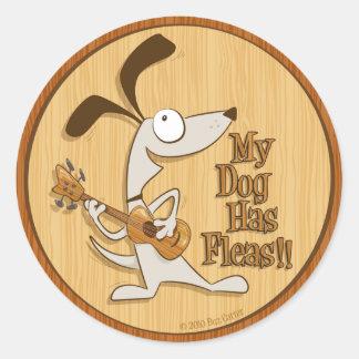 My Dog Has Fleas - round ukulele sticker
