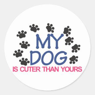 My Dog Is Cuter Classic Round Sticker