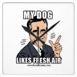 MY DOG LIKES FRESH AIR WALLCLOCKS