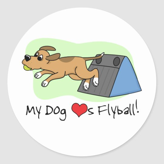 My Dog Loves Flyball Classic Round Sticker