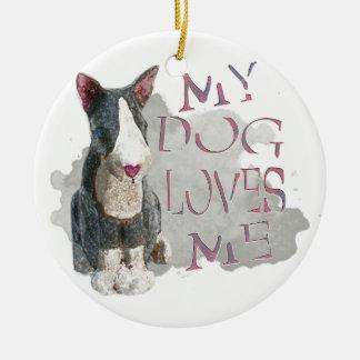 My Dog Loves Me Ceramic Ornament