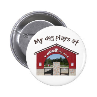 My dog plays at Woof Pac Park 2 Inch Round Button