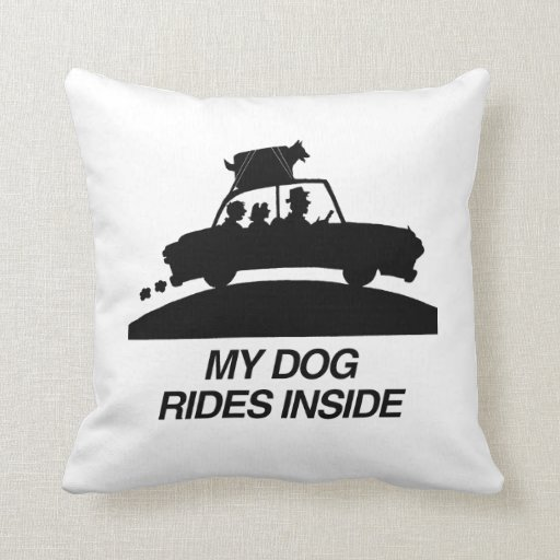 My dog rides inside.png throw pillow