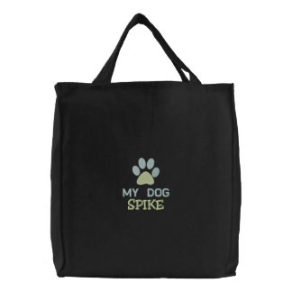 """""""My Dog SPIKE"""" - Personalized Custom Dog Name Embroidered Tote Bags"""