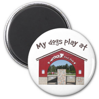 My dogs play at Woof Pac Park 2 Inch Round Magnet
