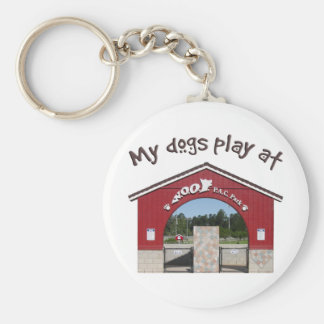 My dogs play at Woof Pac Park Basic Round Button Keychain