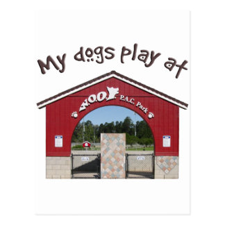 My dogs play at Woof Pac Park Postcard