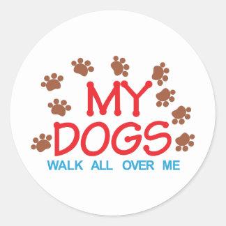 My Dogs Walk Classic Round Sticker