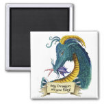My Dragon Ate your Fairy! 2 Inch Square Magnet