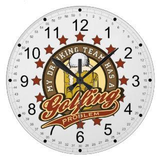 My Drinking Team has a Golfing Problem Large Clock