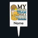 """My Drinking Team has a Tennis Problem Cake Topper<br><div class=""""desc"""">My Drinking Team has a Tennis Problem gifts featuring a cold mug of beer with a tennis racket and ball in it! Perfect for the tennis fan or tennis player who loves the sport with a cold drink!</div>"""
