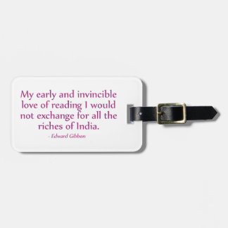 My Early and Invincible Love of Reading Travel Bag Tag