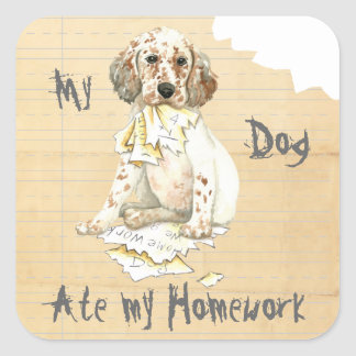 My English Setter Ate My Homework Square Sticker