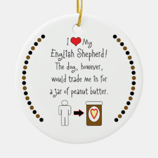 My English Shepherd Loves Peanut Butter Double-Sided Ceramic Round Christmas Ornament