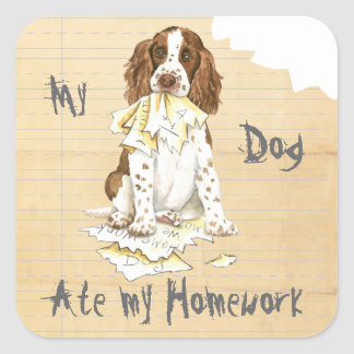 My English Springer Spaniel Ate My Homework Square Sticker
