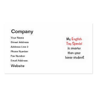 My English Toy Spaniel is smarter... Double-Sided Standard Business Cards (Pack Of 100)