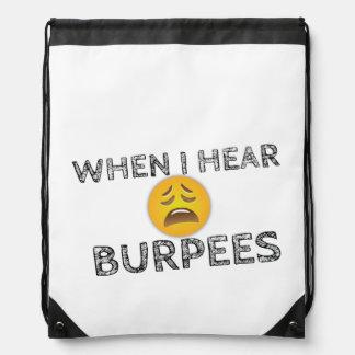 My Face When I Hear Burpees - Upset Emoji Drawstring Bag