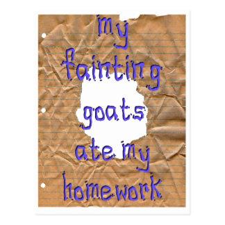 My Fainting Goats Ate My Homework Postcard
