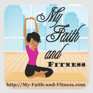 My Faith and Fitness Square Sticker ~ 20 per sheet
