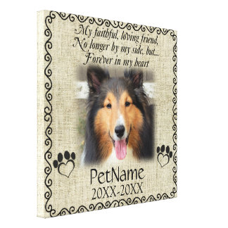 My Faithful Friend Pet Sympathy Custom Burlap Canvas Print