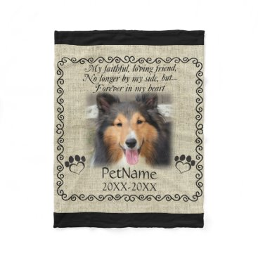 Valentines Themed My Faithful Friend Pet Sympathy Custom Burlap Fleece Blanket