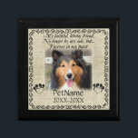 """My Faithful Friend Pet Sympathy Custom Burlap Jewelry Box<br><div class=""""desc"""">My faithful, loving friend, No longer by my side, but... forever in my heart. With a black decorative swirl frame and paw prints shaped like hearts with a brown / beige burlap background. Pet poem that goes for dogs, cats, or any pets with paws. Pay tribute to a loved pet...</div>"""
