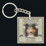 """My Faithful Friend Pet Sympathy Custom Burlap Keychain<br><div class=""""desc"""">My faithful, loving friend, No longer by my side, but... forever in my heart. With a black decorative swirl frame and paw prints shaped like hearts with a brown / beige burlap background. Pet poem that goes for dogs, cats, or any pets with paws. Pay tribute to a loved pet...</div>"""