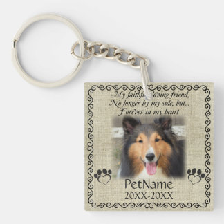 My Faithful Friend Pet Sympathy Custom Burlap Single-Sided Square Acrylic Keychain