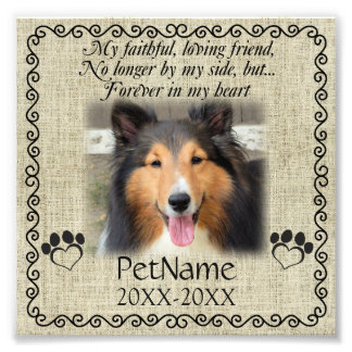 My Faithful Friend Pet Sympathy Custom Burlap Photo Print