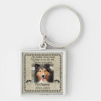 My Faithful Friend Pet Sympathy Custom Burlap Silver-Colored Square Keychain