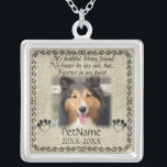 """My Faithful Friend Pet Sympathy Custom Burlap Silver Plated Necklace<br><div class=""""desc"""">My faithful, loving friend, No longer by my side, but... forever in my heart. With a black decorative swirl frame and paw prints shaped like hearts with a brown / beige burlap background. Pet poem that goes for dogs, cats, or any pets with paws. Pay tribute to a loved pet...</div>"""