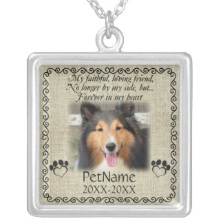 My Faithful Friend Pet Sympathy Custom Burlap Silver Plated Necklace