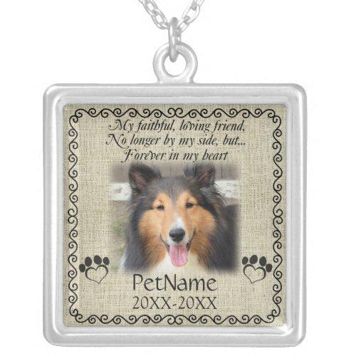 My Faithful Friend Pet Sympathy Custom Burlap Silver Plated Necklace