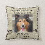 "My Faithful Friend Pet Sympathy Custom Burlap Throw Pillow<br><div class=""desc"">My faithful, loving friend, No longer by my side, but... forever in my heart. With a black decorative swirl frame and paw prints shaped like hearts with a brown / beige burlap background. Pet poem that goes for dogs, cats, or any pets with paws. Pay tribute to a loved pet...</div>"