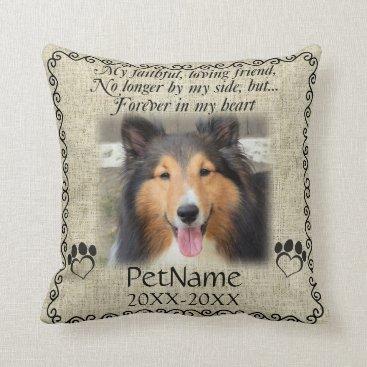 Valentines Themed My Faithful Friend Pet Sympathy Custom Burlap Throw Pillow