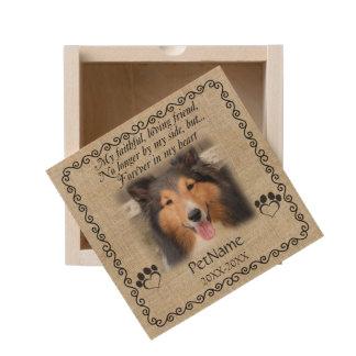 My Faithful Friend Pet Sympathy Custom Burlap Wooden Keepsake Box