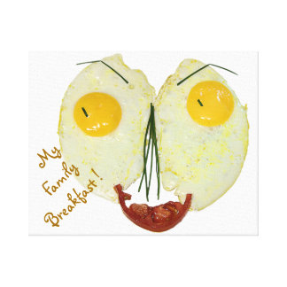 My Family Breakfast egg face Canvas Print