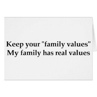My family has real values card
